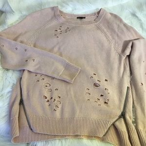 Express Sweaters - EXPRESS Distressed Pink Sweater